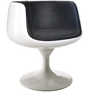 LexMod Cup Dining Chair in Black Vinyl