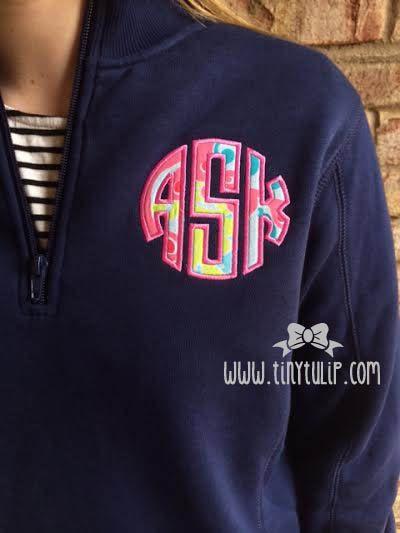 Navy Monogrammed Lilly Pulitzer Quarter Zip Pullover Sweatshirt on Etsy, $40.00