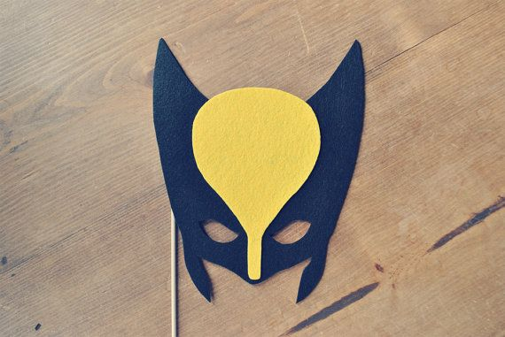 Wolverine Mask Photo Prop on a stick // X Men Mask // Super Hero Mask // Super Hero Theme Wedding // Super Hero Theme Photo Booth