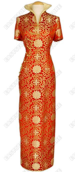 Your will be proud and passionate in this Fu Gui Flower Pattern Silk Brocade Cheongsam.Made of high...