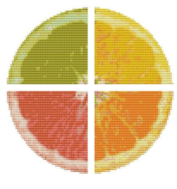Modern Cross Stitch Kit 'Citrus Fruit' Needlecraft kit - Lemon - Orange - Lime - Grapefruit on Etsy, $15.00