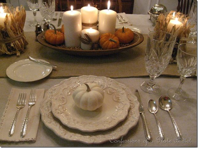 Love this beautiful Thanksgiving table from Confessions of a Plate Addict! She also tells how to make the beautiful burlap runner!