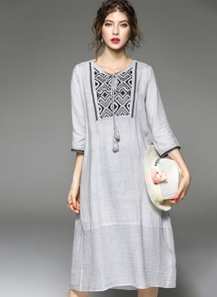 Linen Solid 1016870/1016870 Sleeves Mid-Calf Casual Dresses (1016870) @ floryday.com