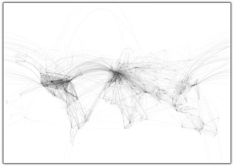 World map: A world map depicted using only airline routes