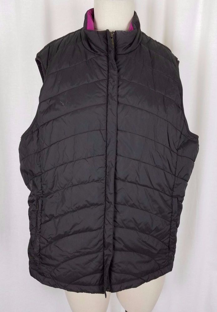 Lands End Black Quilted Insulated Puffer Zip Up Winter Vest Womens XL 18 20 Pink #LandsEnd #Quilted #Winter