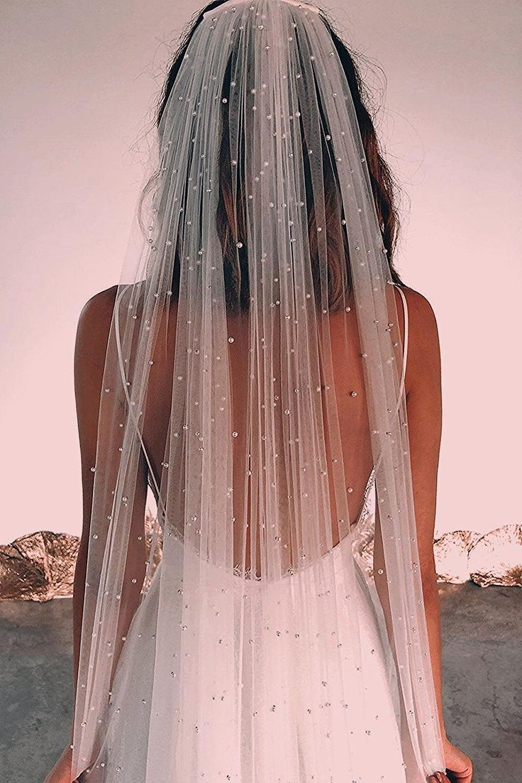 Pearly Long Veil | Grace Loves Lace | wedding, wedding gown, wedding dress, veil, wedding veil, wedding accessories, head accessories