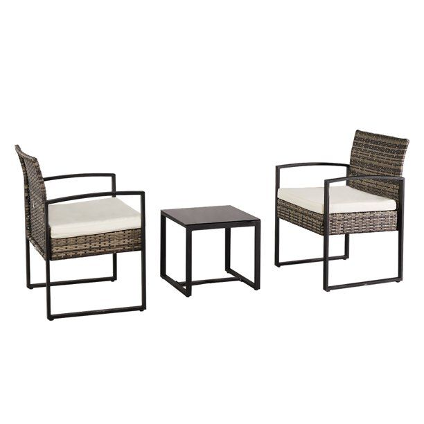 Outdoor Wicker Bistro Set 3 Piece Pe Rattan Furniture Set With Coffee Table C Rattan Furniture Set Wicker Outdoor Furniture Set Outdoor Patio Furniture Sets