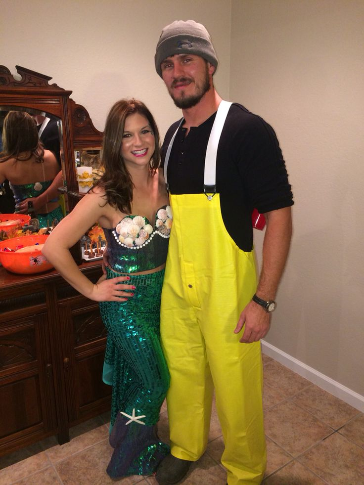 Fisherman and mermaid DIY couples costume