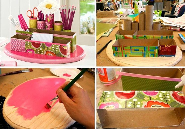Make a desk organizer using cereal boxes, toiler paper rolls and a little creativity!