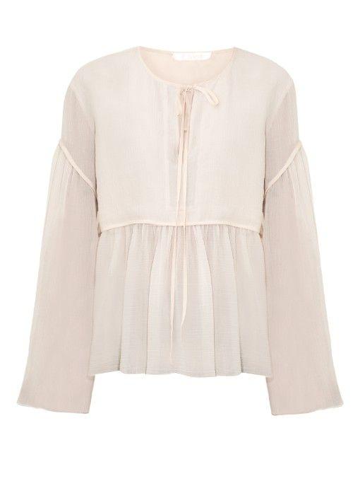 Chloé Tie-neck crepe de Chine blouse