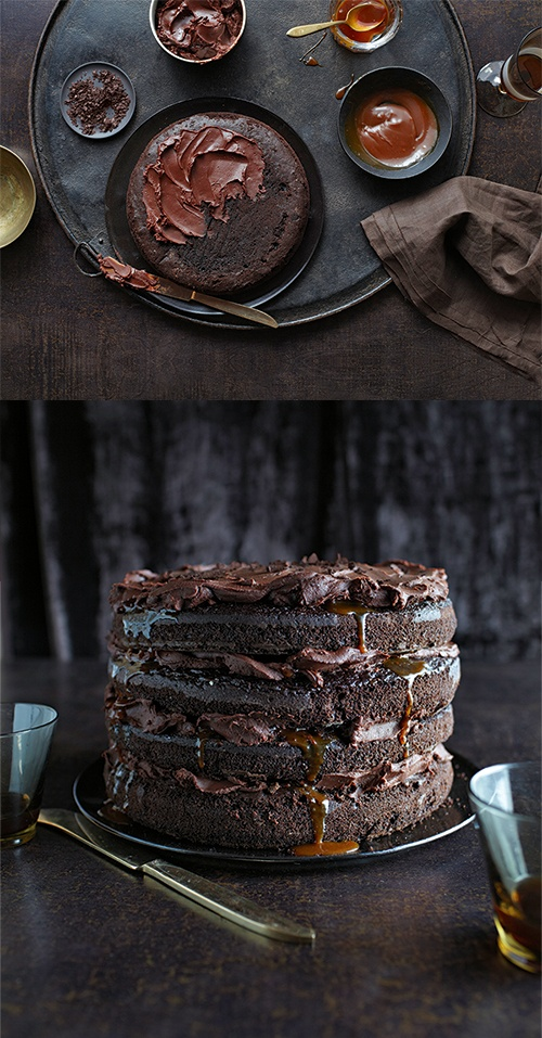 Fudgy salted caramel lava chocolate layer cake! http://www.taste.com.au/recipes/30255/caramel+lava+chocolate+cake