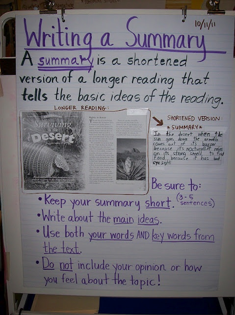 Summarizing nonfiction texts - I like the way key vocabulary was used in this lesson.