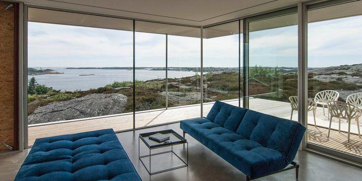 Enplansvilla med plastfasad och utsikt | UNIT Arkitektur AB