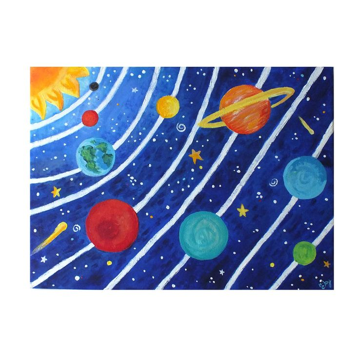 Art for Kids, SOLAR SYSTEM No.3, 16x12 acrylic canvas painting, space themed childrens decor wall art. $120.00 USD, via Etsy.