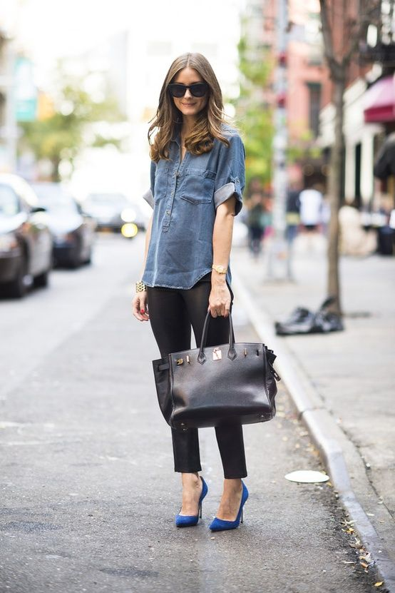 black ankle pants, chambray shirt, colored heel