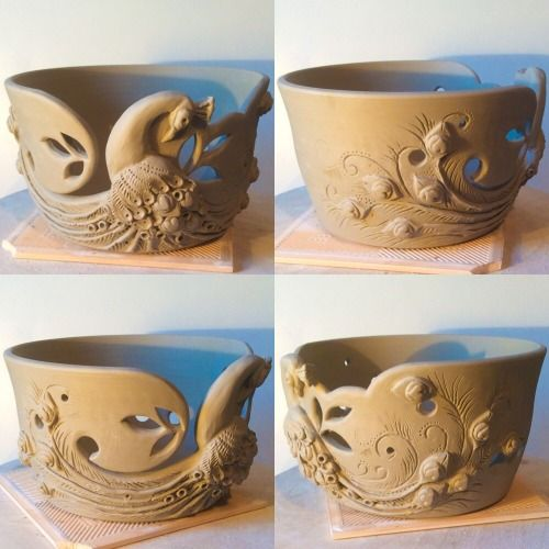 Just finished making this one today …Peacock yarn bowl custom order. Every time I remake a design they seem to get more ornate.  earthwoolfire@gmail.com