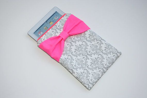 iPad Case - Android - Microsoft Tablet Sleeve - Gray Damask + Dayglo Pink Bow by AlmquistDesignStudio on Etsy
