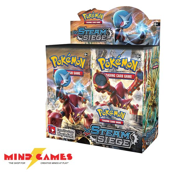 Gear up for new ways to battle in the Pokémon TCG: XY-Steam Siege expansion! Control Shiny Mega Gardevoir-EX and lay siege upon the Mythical Steam Pokémon Volcanion. With this booster box, you can get 36 packs of 10 cards to expand your game!