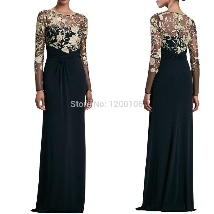 Арабский Vestido партии совок золотые аппликации кружева русалка прозрачный с длинным рукавом вечерние платья 2014