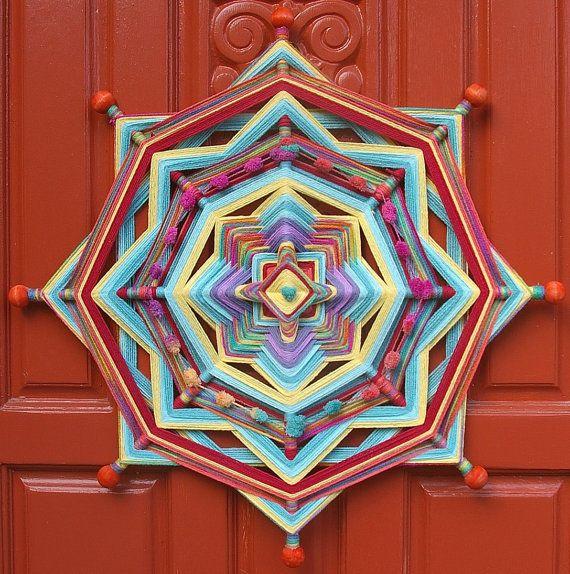 24 Mandala Woven Yarn Art Ojo de Dios Wall by MandalaMoonShop