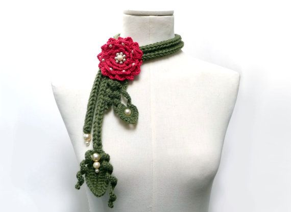 Crochet Lariat Necklace  Olive Green Leaves and Cherry by ixela