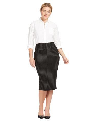 Plus Size MICHEL STUDIO BY ADDITION ELLE Pinstripe Midi Pencil Skirt