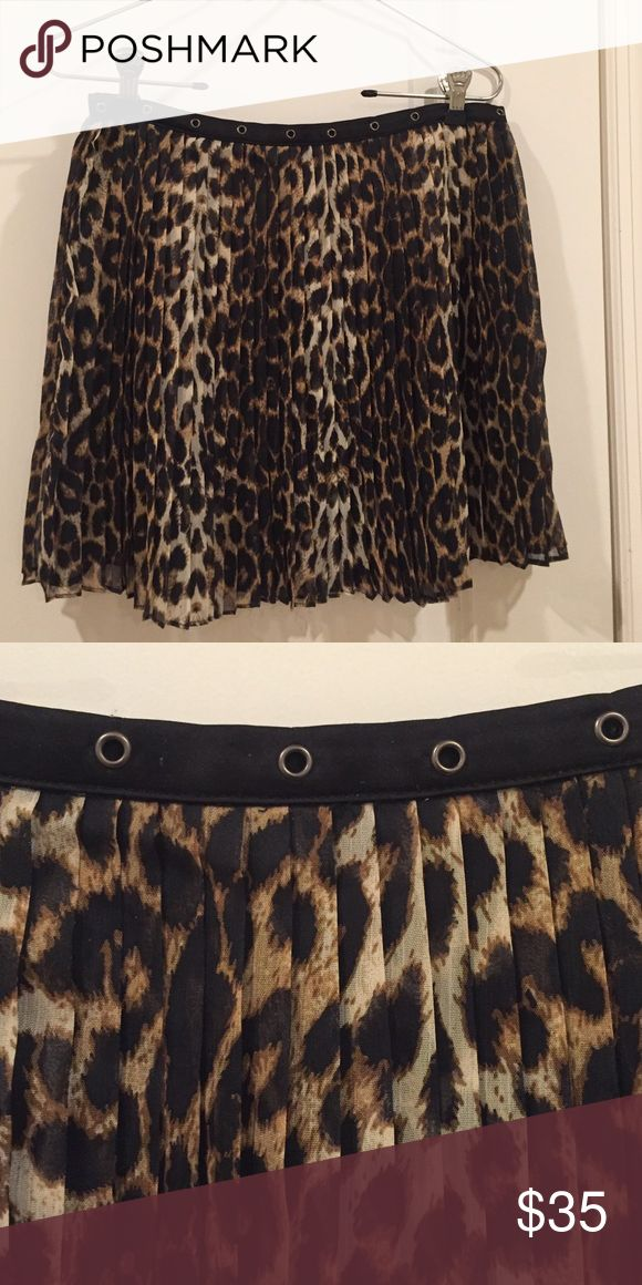 LF Cheetah Skirt LF Millau Cheetah skirt with faux leather trim Millau Skirts Mini