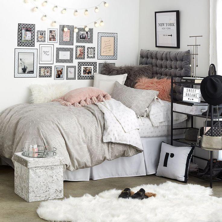 Grey Chloe Medallion Duvet Cover And Sham Set Full Queen Bedding Set Dormify Decoration Bedroom Decorating Tips Small Room Bedroom College Room Decor