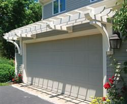 WALPOLE GARAGE Pergola: Marston Trellis System transforms a basic garage door | Walpole Outdoors