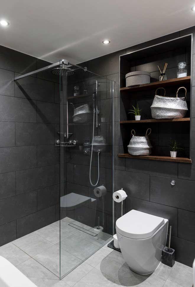 Bathroom Decor Greenery Ideas For Bathroom Decor Cheap Bathroom Decor Colors Bathroom Deco In 2020 Bathroom Design Black Large Tile Bathroom Bathroom Design Luxury