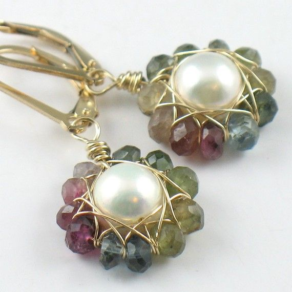 Tourmaline and Pearl Flower Earrings in Gold by SDJewelry