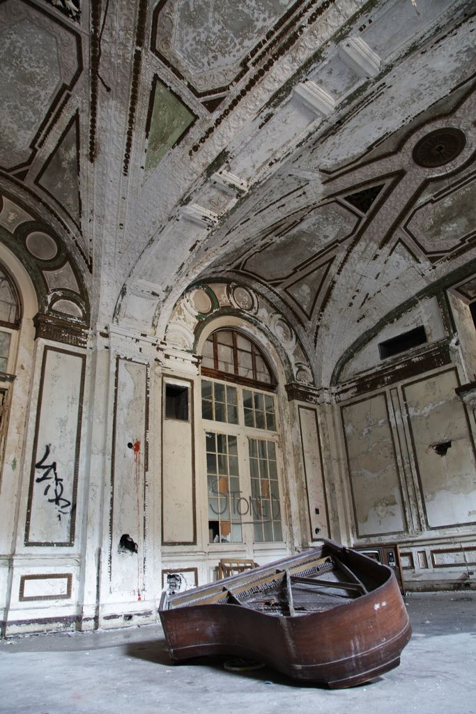 Lobby of abandoned hotel, Detroit.