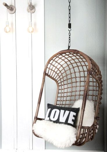 I WANT one of these. My parents friends had ine when i was little. Hanging Chair Dark Rattan by Moodadventures on Etsy, €199.00