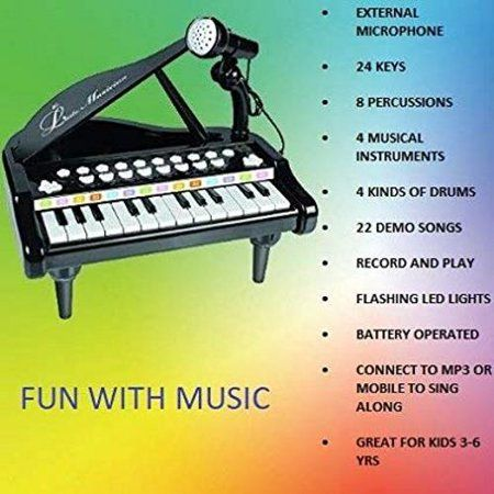 Elegantoss 24 Keys Multi functional Musical Mini Piano with colorful