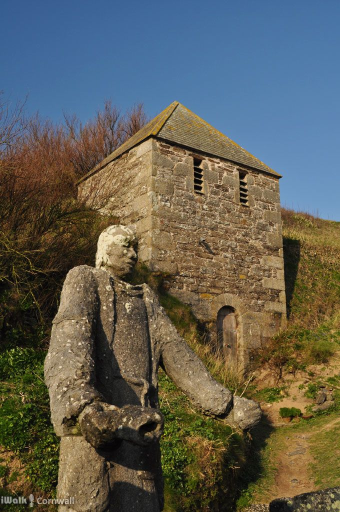 The mediaeval bell tower beside St Winwaloe church, Cornwall