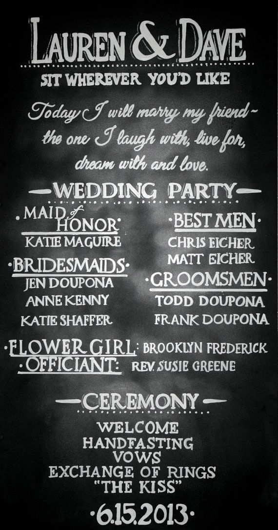 Chalkboard Wedding Program Sign Handdrawn Custom by LBFStudio, $40.00 @Brides Mate