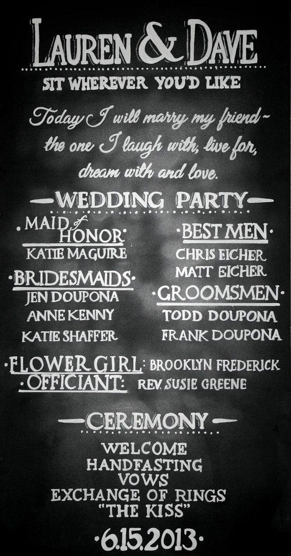 Chalkboard Wedding Program Sign Handdrawn Custom by LBFStudio, $40.00