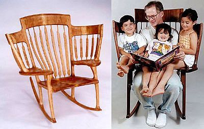 Storytime Rocker made for one adult & 2 to 3 children. Comfortable head support. Ingenious design!