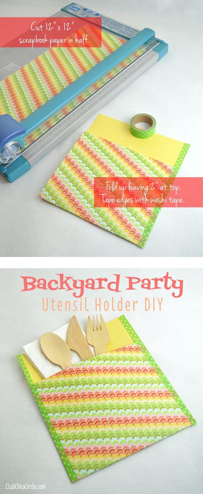 Backyard party utensil holder DIY