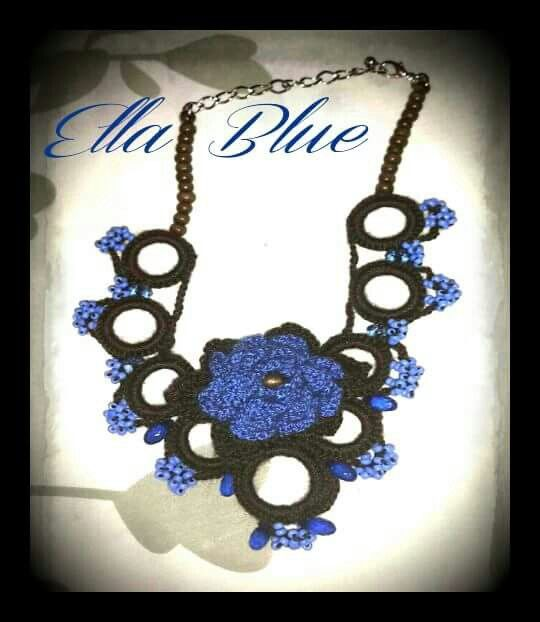 Blue crochet rose by Ella Blue. Made to fit a girl 7-12 years old