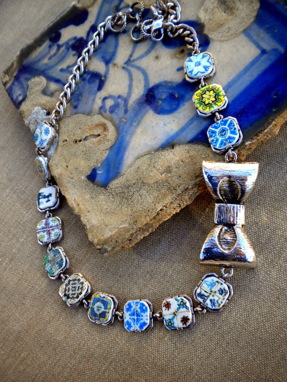 Portugal  Antique Tile Replicas NECKLACE Azulejos from by Atrio,