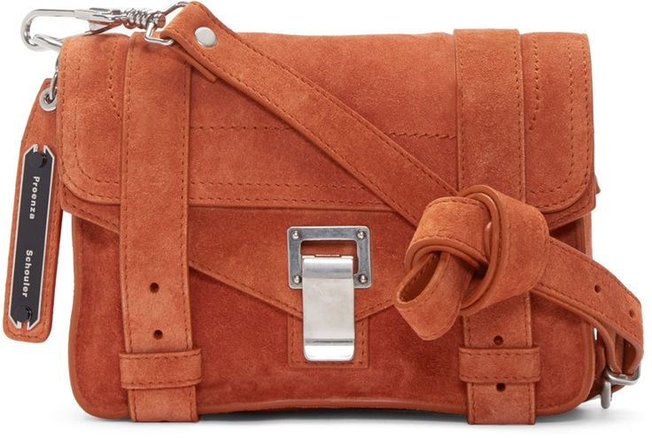 Proenza Schouler - Orange Suede Mini PS1 Bag