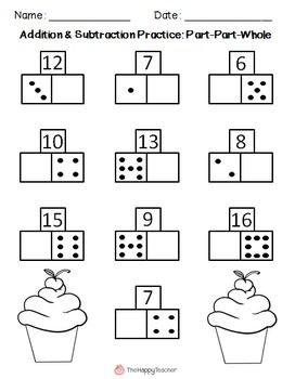 These printables are designed for math centers, independent practice, homework, or for use in small groups. These worksheets will help students with basic addition and subtraction facts, counting on, fact families, subitizing, and automaticity with math facts.  Answer keys provided.  This product contains 24 worksheets in all. They are divided into three sections: Sums, Missing Addends, and Create Your Own problems. $