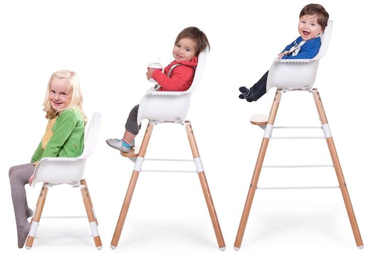 Nieuwe kinderstoel EVOLU van Childwood. Eetstoel die meegroeit, 3 posities mogelijk.