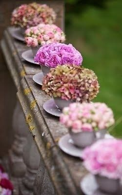 flowers in teacups. hydrangeas. tea roses. pink. blush. purple. All Things Shabby and Beautiful