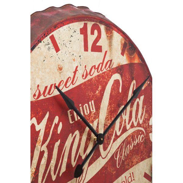 Ρολόι τοίχου King Cola Vintage ρολόι τοίχου που Θυμίζει καπάκι αναψυκτικών, τύπου cola. Τα έντονα χρώματα δημιουργούν μια αίσθηση ζωντάνιας στο χώρο σας! Μπαταρία 1xLR6-AA-1 (εκτός).