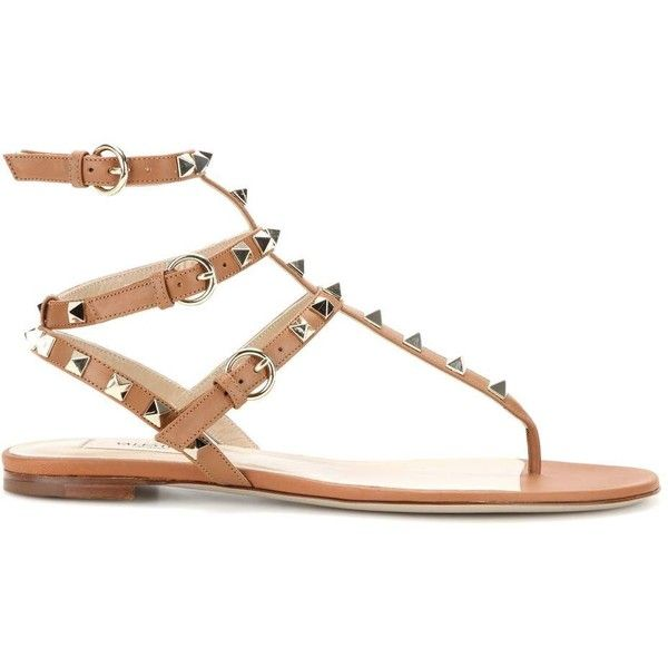 Valentino Rockstud Leather Sandals (61,190 INR) ❤ liked on Polyvore featuring shoes, sandals, real leather shoes, valentino shoes, brown leather sandals, brown leather shoes and leather footwear