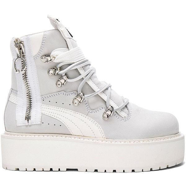 Fenty by Puma Leather Sneaker Boots (1,270 ILS) ❤ liked on Polyvore featuring shoes, boots, ankle boots, platform boots, side zip boots, leather lace up boots, bootie boots and real leather boots
