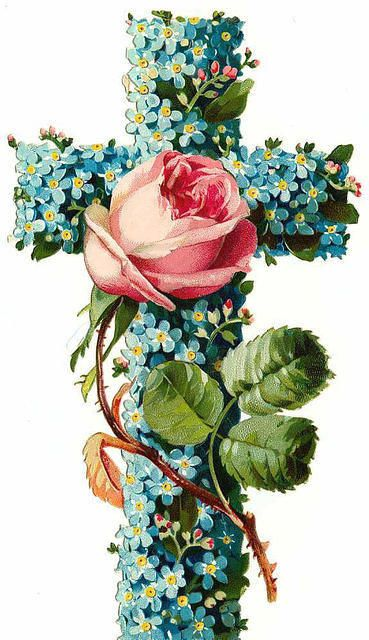 Beautiful vintage Easter card- forget-me-nots and a rose!