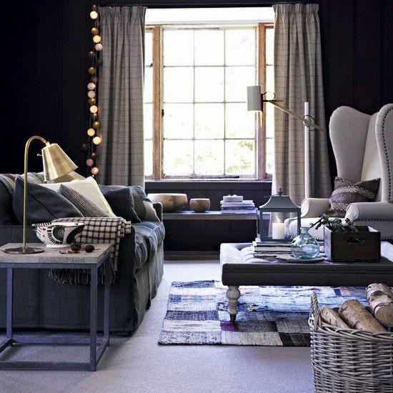 Warm blue living room   Cosy living room decorating   Black paint   Housetohome